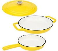 "Cooks Essentials Cast Iron 12"" Everyday Pan w/ Lid 8"" Skillet Yellow Enamel Coat"
