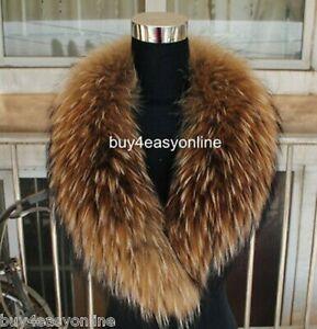 Brand Women&Men Real Raccoon Fur Collar Scarf Shawl Wrap Neck Warmer US stock