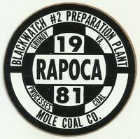 Rapoca Black Watch #2 Mole Coal Co. 1981 Vintage Unused Mining Hard Hat Sticker