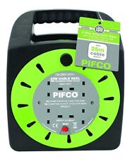 Pifco 25 Metre 4 Socket Mains Extension Reel UK 13 Amp Thermal Safety Cut Out