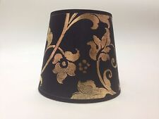 Small Clip On Candle Black & Gold Flowered Fabric Lamp Shade Ceiling Handmade