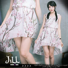lolita oriental princess Peach blossom floral chiffon blouson dress J1R0011