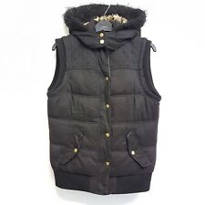 Hudson & Rose Womens Bodywarmer Gillet Black Padded Faux Fur Hood UK Size 10