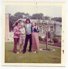 Square Vintage 70s PHOTO Teen Girl & Boy Siblings w/ Grandma & Aunt In Yard