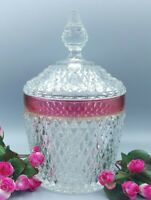 Vintage Ruby Red Flash Indiana Glass Diamond Point Lidded Jar Cookie Biscuit