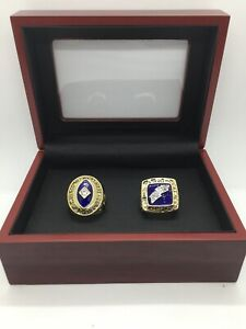 2 Pcs San Diego Chargers Championship Ring Set with Wooden Display Box