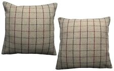 Pack of 2 Tartan Style Cushion Covers Brown, Light Brown,Maroon Red Woven Check