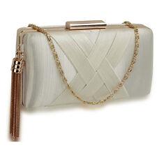 Satin Medium Ladies Bridal Clutch Baguette Hard Compact Women Evening Prom Bags