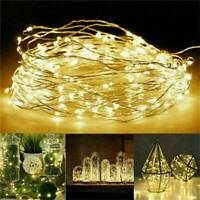 50-100 LED Battery Powered String Fairy Lights Copper Wire Waterproof Xmas Decor