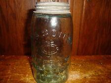 CFJ Mason Canning Jar Zinc Cap Lid Light Blue One Quart Vtg Pat. Nov 30, 1858