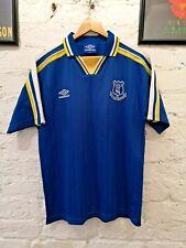 Rare EVERTON FC 1990's Football Shirt Original Vintage Retro Blue Striped Collar