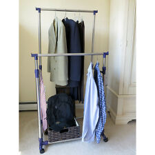Evelots® Heavy Duty Clothes Rack, Portable Double Clothes Hanging Storage Bars