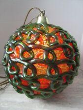 "Old MCM Mid Century Green Orange Spaghetti Lucite Swag Lamp 11"" Dia Working B"