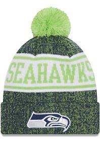 NEW New Era Youth Seattle Seahawks Neon Green Banner Cuffed Pom Knit Hat NFL