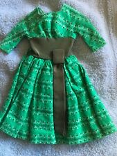 Vintage Barbie Swingin Easy Dress 955 Green Floral Printsee repair on shoulder