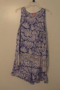 LILLY PULITZER Lilac House of Nemo Sonya Short Set 2 piece FRINGE trim  size 8