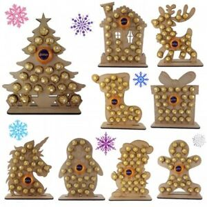Wooden Advent Calendar Reusable Over 10 Designs CHOCOLATES NOT INCLUDED