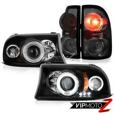 Dodge Dakota 97-04 V6 V8 Black Angel Eye Headlights Smoke Rear Brake Lamps Light