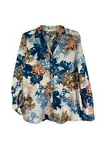 Chicos Size 2 Button Down Floral Blouse Roses Long Sleeve Tropical Casual