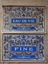 2x ETIQUETTE ANCIENNE CHROMO ALCOOL / EAU DE VIE + FINE Litho Douin & Jouneau