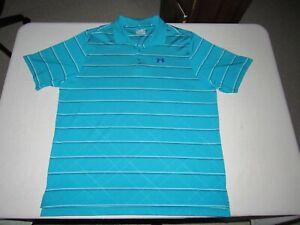 Under Armour Men's Heat Gear Blue White Black Striped Golf Polo Shirt Size 2XL