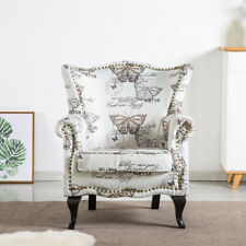 High Back Chair Winged Armchair Fireside Queen Anne Butterfly Fabric Retro Studs