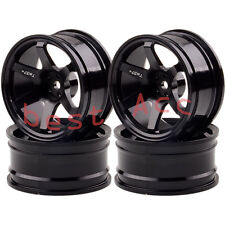 4xWheel Rim 1052 BLACK Aluminum 6 Spoke RC 1/10 On-Road Drift Sakura HSP Tamiya