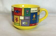 Sesame Street Coffee Soup Mug Cup Yellow Cookies Elmo Abby Grover Count Unique