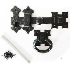 """Ring Gate Latch Antique Black Vintage Traditional Cast Iron Heavy Duty Catch 7"""""""