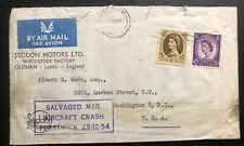 1954 England Prestwick Crash Cover to Washington Dc Usa Salvaged Mail Damaged