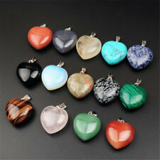 24pcs/lot hybrid heart Gemstone Silver Beads Pendants Fashion necklace energy