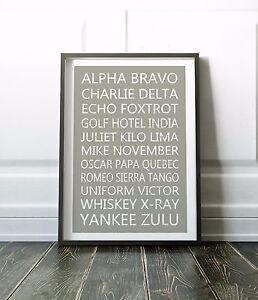 Phonetic Alphabet Print, Phonetic Alphabet Wall Art, Wall Art Print, Office Art