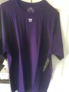 NWT! Warrior Tech Short Sleeve Performance Adult Tee Shirt - PURPLE - WPT079