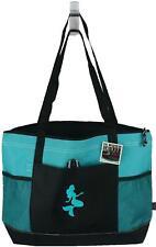 Tropical Mermaid Monogram Beach Bag Teal Gemline Zip Tote Ocean Vacation Gift