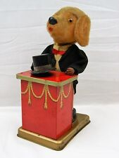 051 Triksie The Magician Dog Tin Litho Vtg Wind Up Magic Show Toy Trixie Working