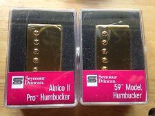 Seymour Duncan Alnico II Pro Neck 59 Bridge Humbucker Pickup Set Gold Covers