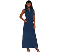 Lisa Rinna Collection Regular Printed Knit Maxi Dress With Tie Size M Navy Color