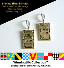 Saratoga Race Track - 925 Silver & Vintage Brass Tote Earrings by SaratogaRocks™