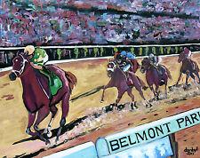 Belmont Horse Racing Original Art PAINTING DAN BYL Modern Contemporary 4x5 feet
