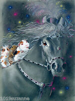 Horse Guinea pig art large print from original painting by Suzanne Le Good