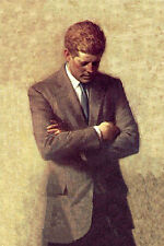 Hand painted art Oil painting PRESIDENT of America  - John F. Kennedy standing