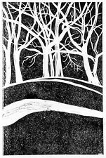 "Robert Fagg Woodcut  ""Trees On a Hill"" Landscape Art"