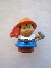 Fisher Price Little People CONSTRUCTION WORKER w/ HAMMER & FLAG Boy Man Helper