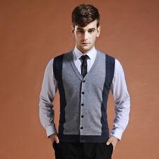Winter Men Wool Vest Cardigan Sleeveless Formal Business Knit Waistcoat Gilet