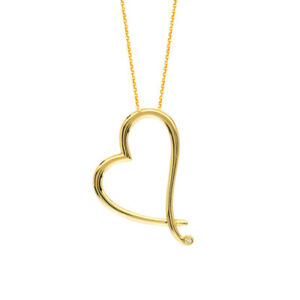 """14K Solid Yellow Gold Diamond Open Slanted Heart Adjustable Necklace 16""""-18"""""""