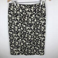 Lauren Ralph Lauren Women's Pencil Skirt Size 2 Cotton Blend Brown White Floral