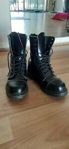 Demonia Punk Goth Black 10 Eye Steel Capped Boots Size AU10 Ladies