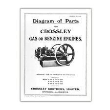 Stationary Engine Booklet - Diagram of Parts for Crossley Gas or Benzine