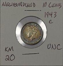 Newfoundland 10 Cents 1943 C. Uncirculated, rainbow toning. KM 20