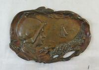 Antike Plakette IN Bronze Art Nouveau Stil Liberty Anfang 900 Basrelief BM24